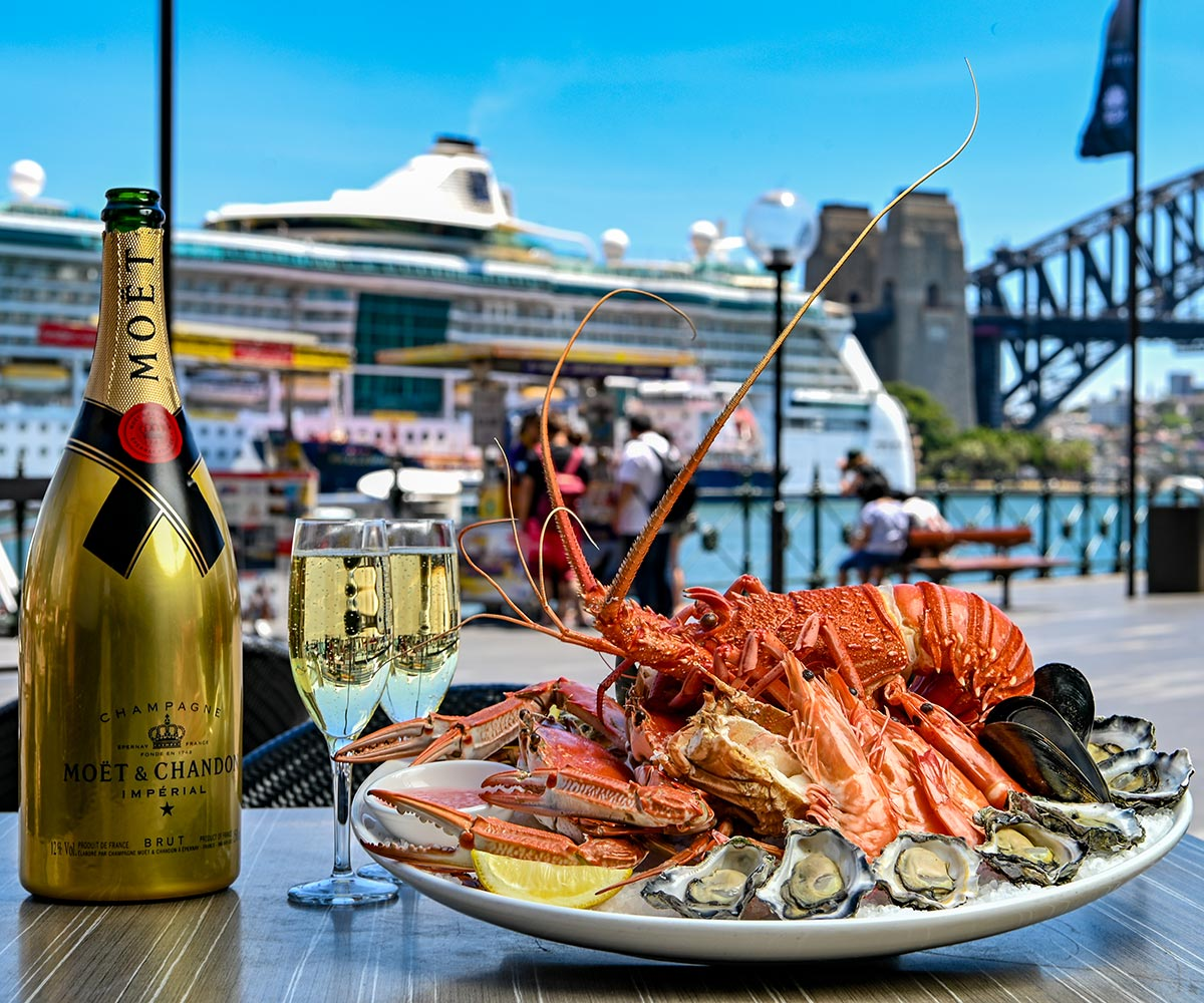 Lobster and Moet & Chandon on Sydney Harbour at Searock Grill