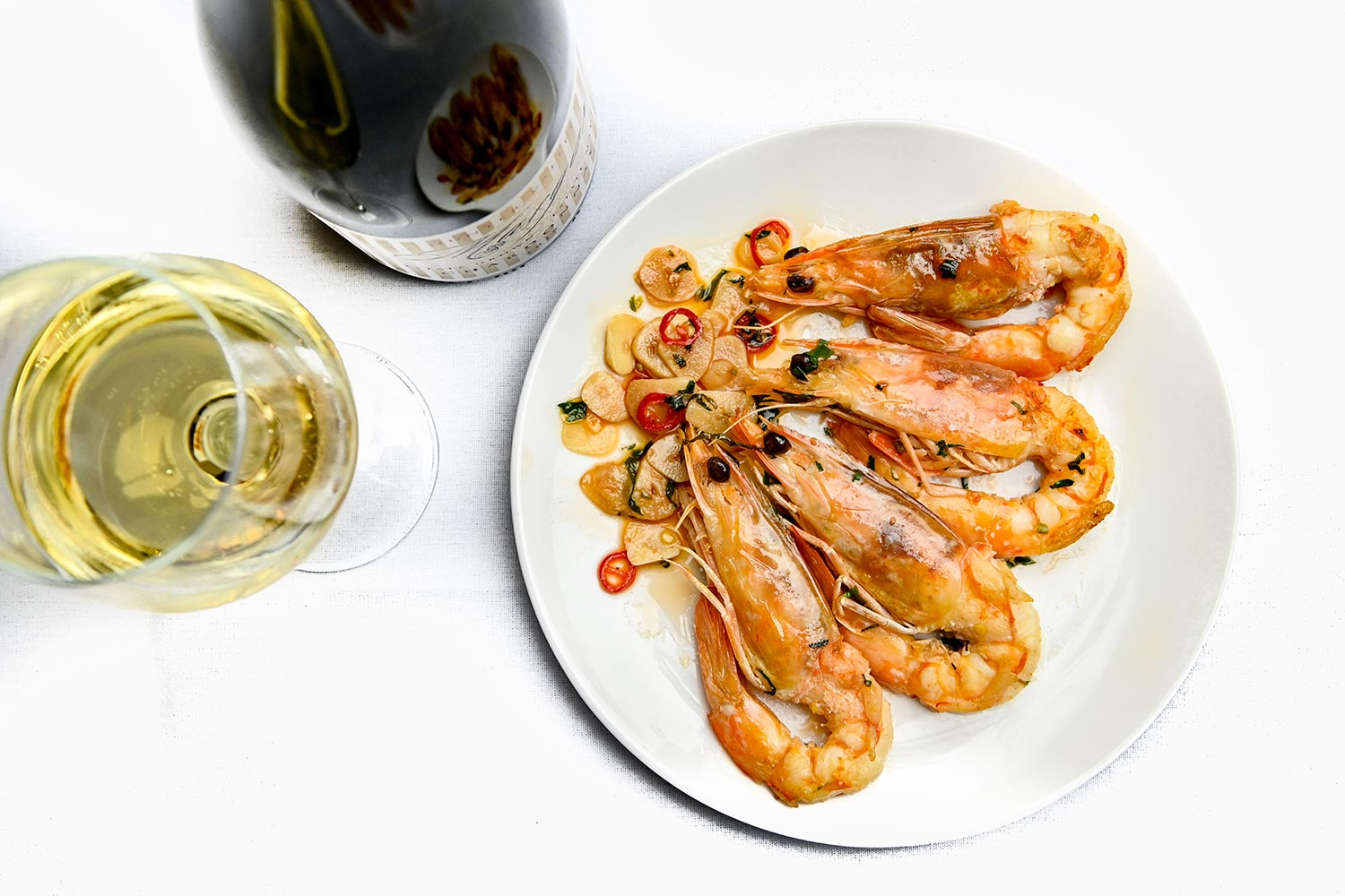 Searock Grill prawns and wine